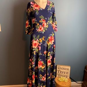 Mother Bee Maternity Navy Floral Maxi Dress Small